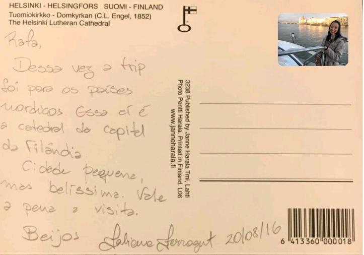 Cartão postal de Fabi Ferragut de sua viagem a Helsinki na Finlândia! AGO/2016