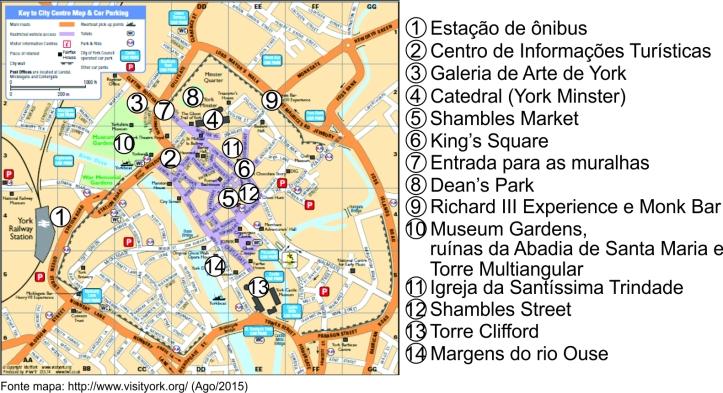 Mapa de York com a marcação dos locais visitados