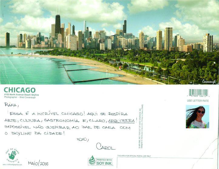 A querida Carolina Mendonça também se lembrou do Postais Pelo Mundo em sua passagem por Chicago - EUA! MAIO/2016