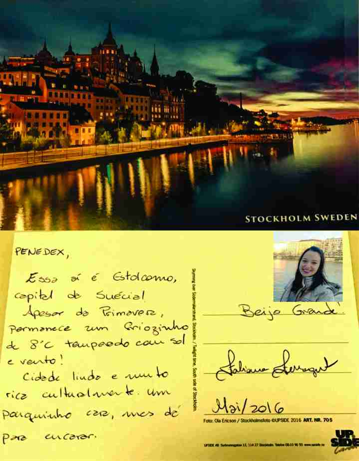 Postal da querida Fabi Ferragut de sua viagem à Estocolmo - Suécia. MAIO/2016
