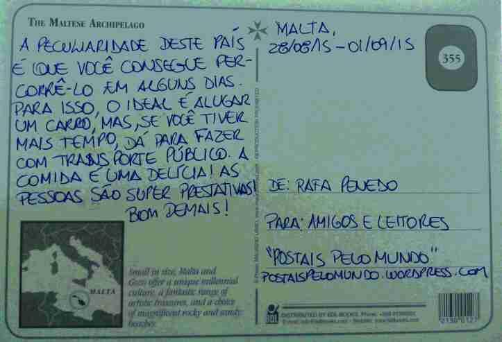 Postal arquipélago Malta verso