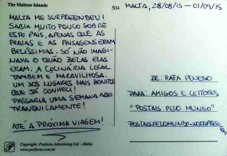 Cartão postal Malta verso