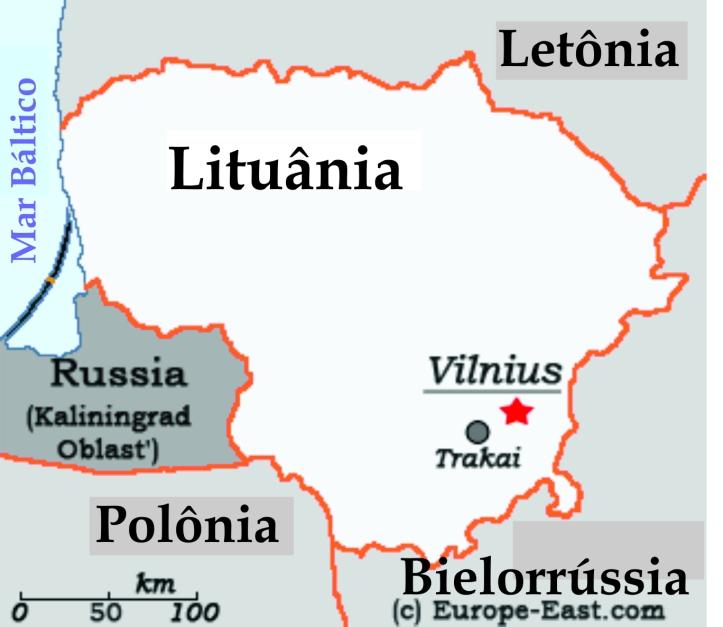 Mapa da Lituânia mostrando as cidades que visitei: Vilnius e Trakai