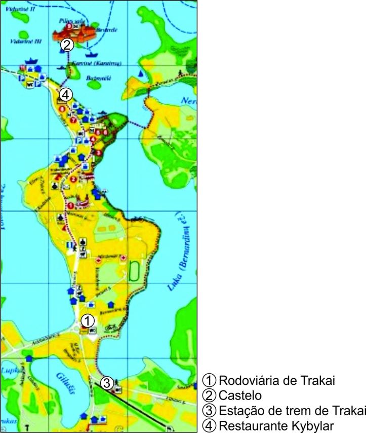 Mapa Trakai com marcações