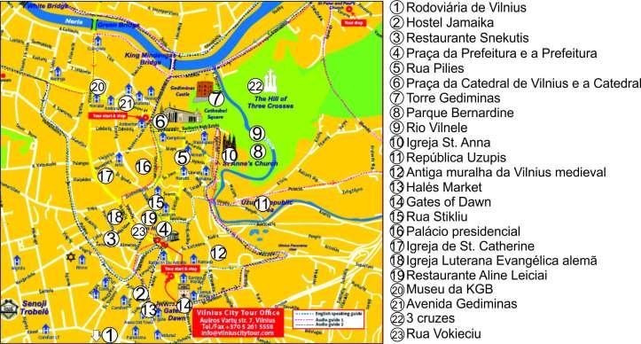 mapa Vilnius com marcações