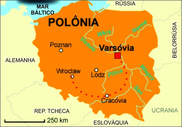 Mapa da Polônia com as cidades visitadas