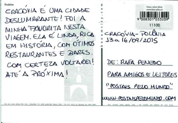 postal Cracóvia verso