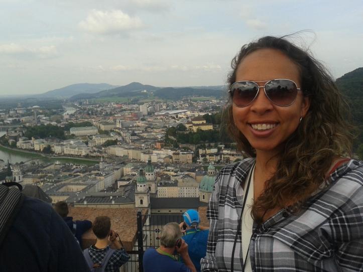 Foto do alto da torre da Fortaleza HohenSalzburgo