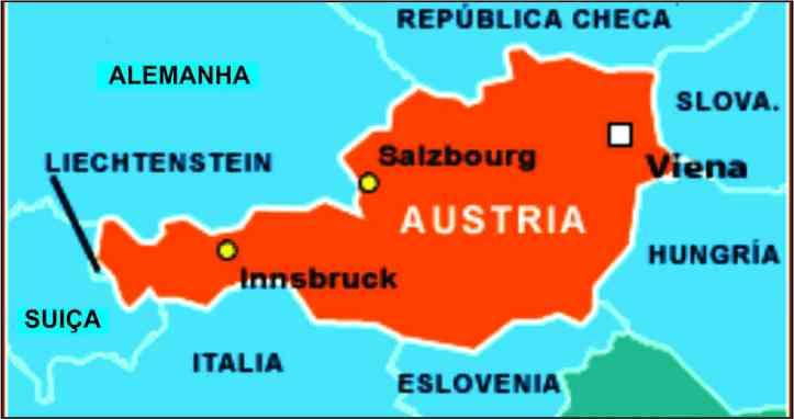 Mapa da Áustria com a localização de Viena e Salzburgo