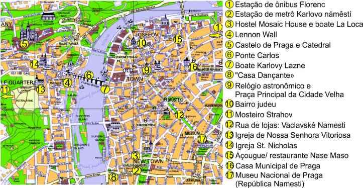 mapa Praga com marcações