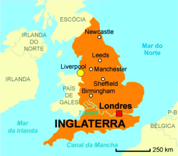 Mapa da Inglaterra indicando a localização de Liverpool