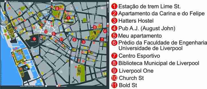 mapa Liverpool com marcações