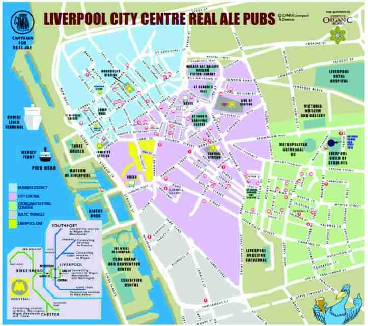 Mapa com a localização de pubs no Centro de Liverpool