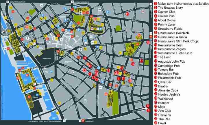 mapa Liverpool com restaurantes e bares