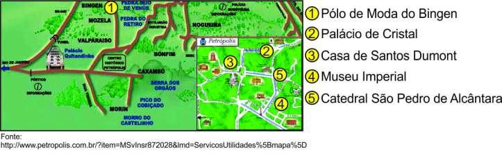 Mapa petrópolis com marcações