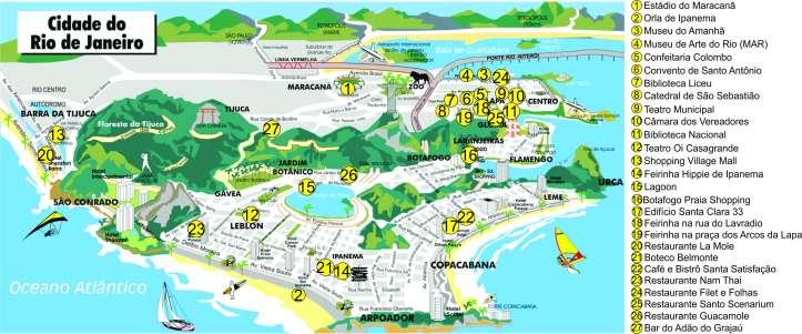 mapa Rio de Janeiro com marcações