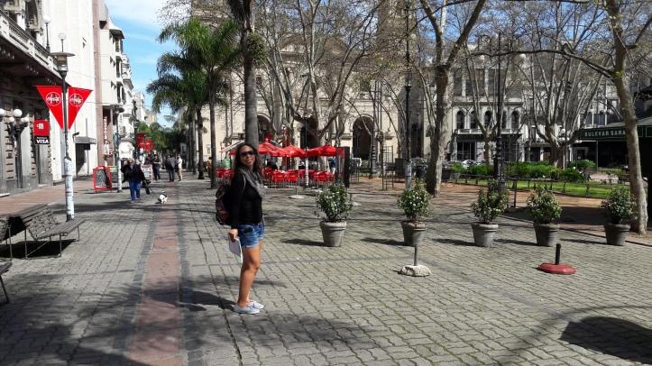 Rua Sarandi (de pedestre) com a Praça Matriz ao fundo