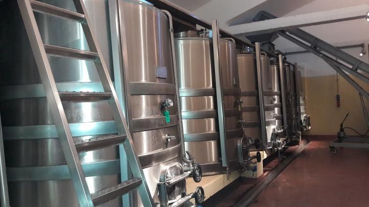 Alguns dos recipientes onde é feita a fermentação do vinho