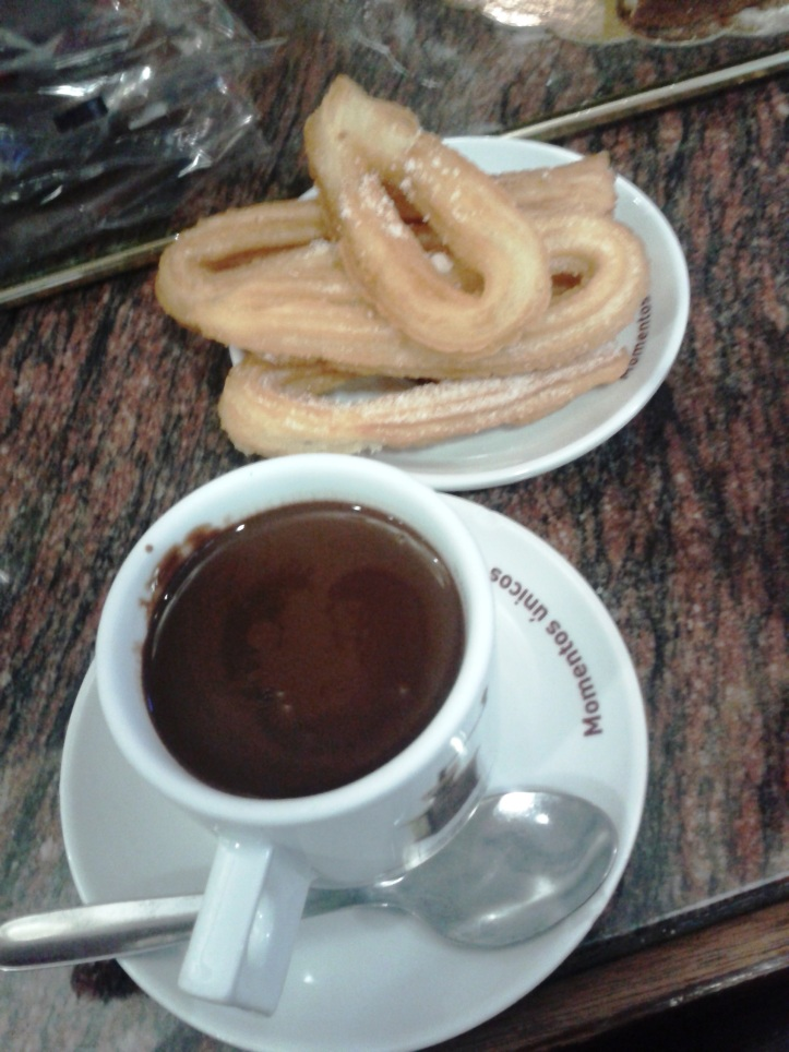 Churros com chocolate